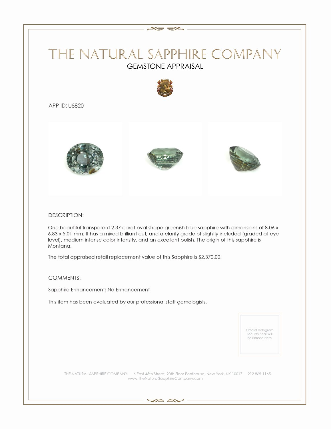 Natural Untreated Green Blue Sapphire U5820 Certification 3