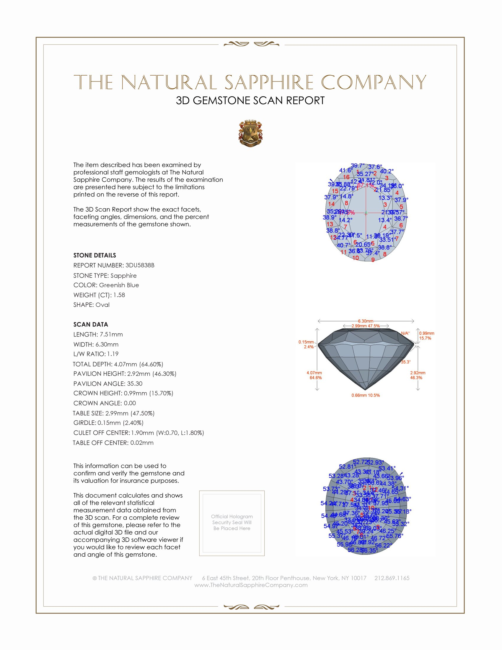 Natural Untreated Green Blue Sapphire U5838 Certification 2
