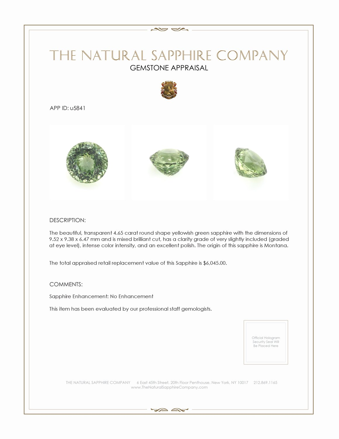 Natural Untreated Yellowish Green Sapphire U5841 Certification 3