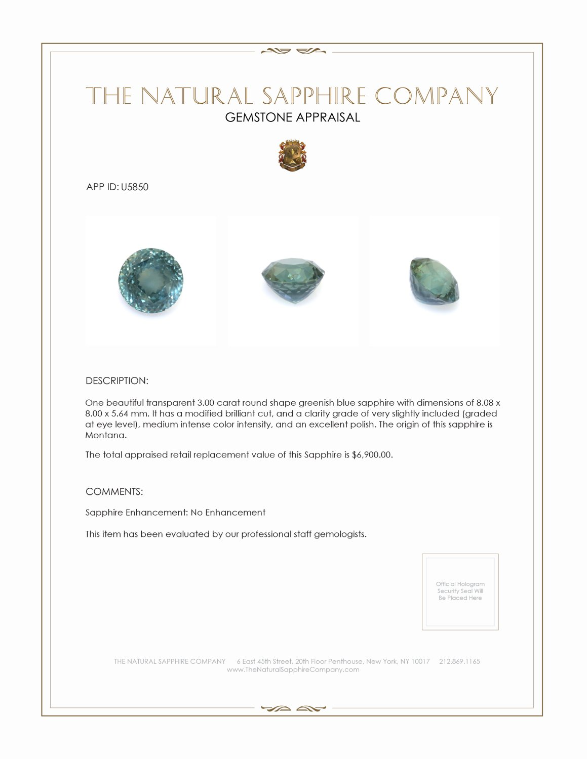 Natural Untreated Bluish Green Sapphire U5850 Certification 3