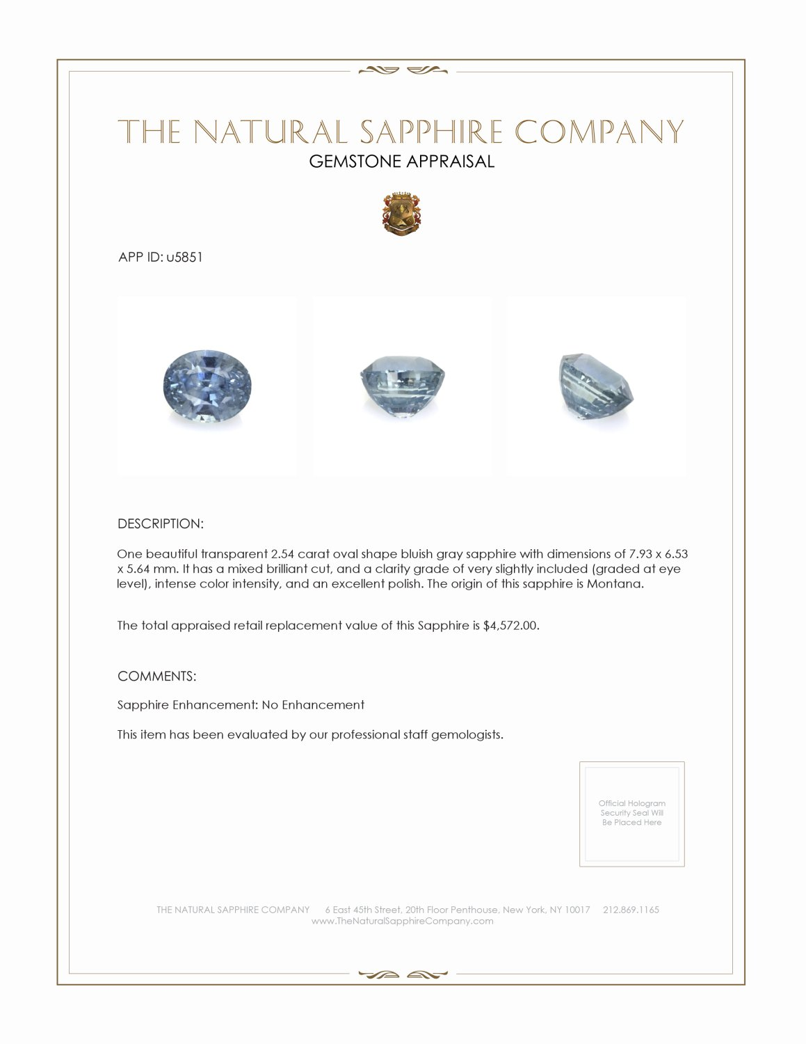 Natural Untreated Blue Sapphire U5851 Certification 3