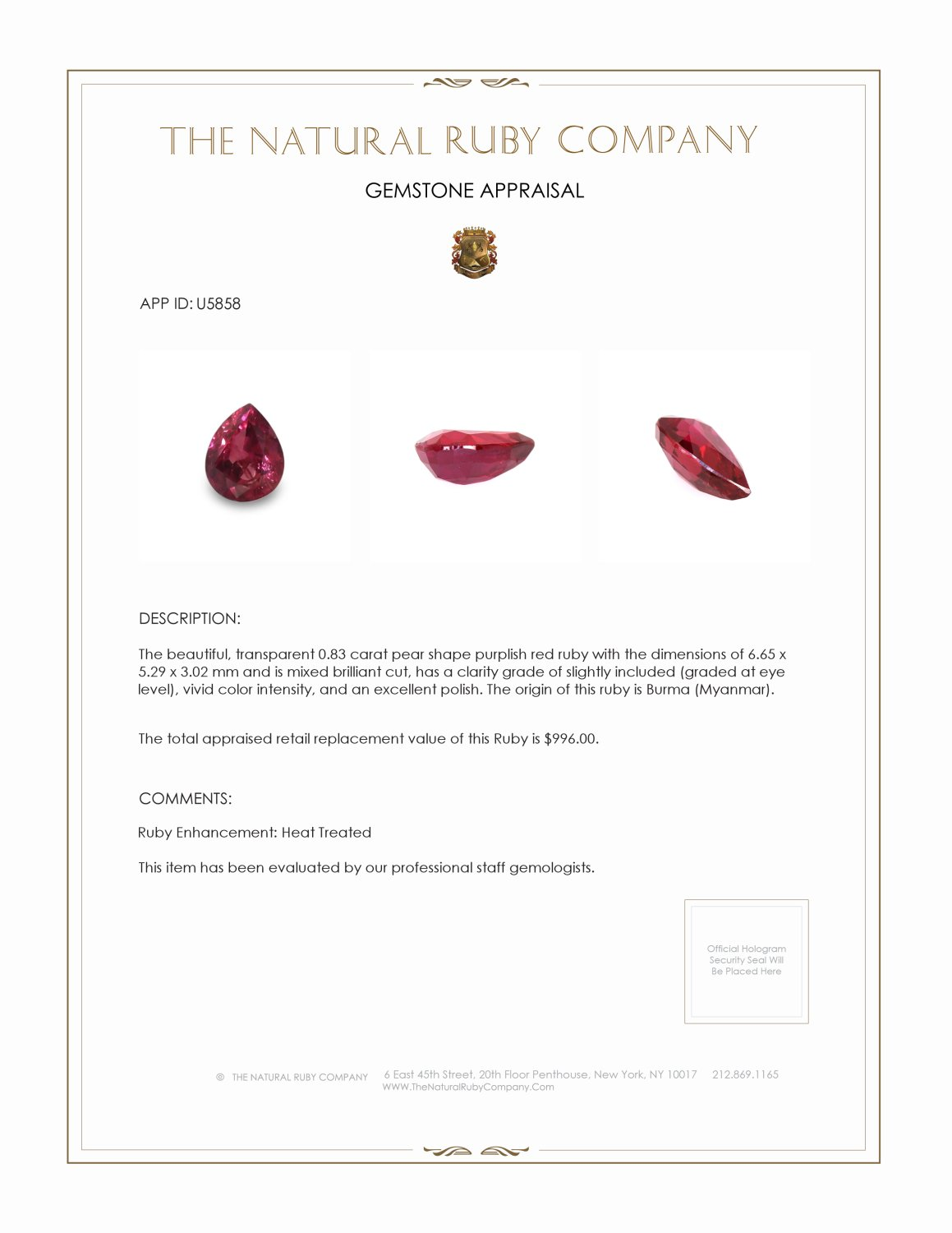 Natural Ruby U5858 Certification 3