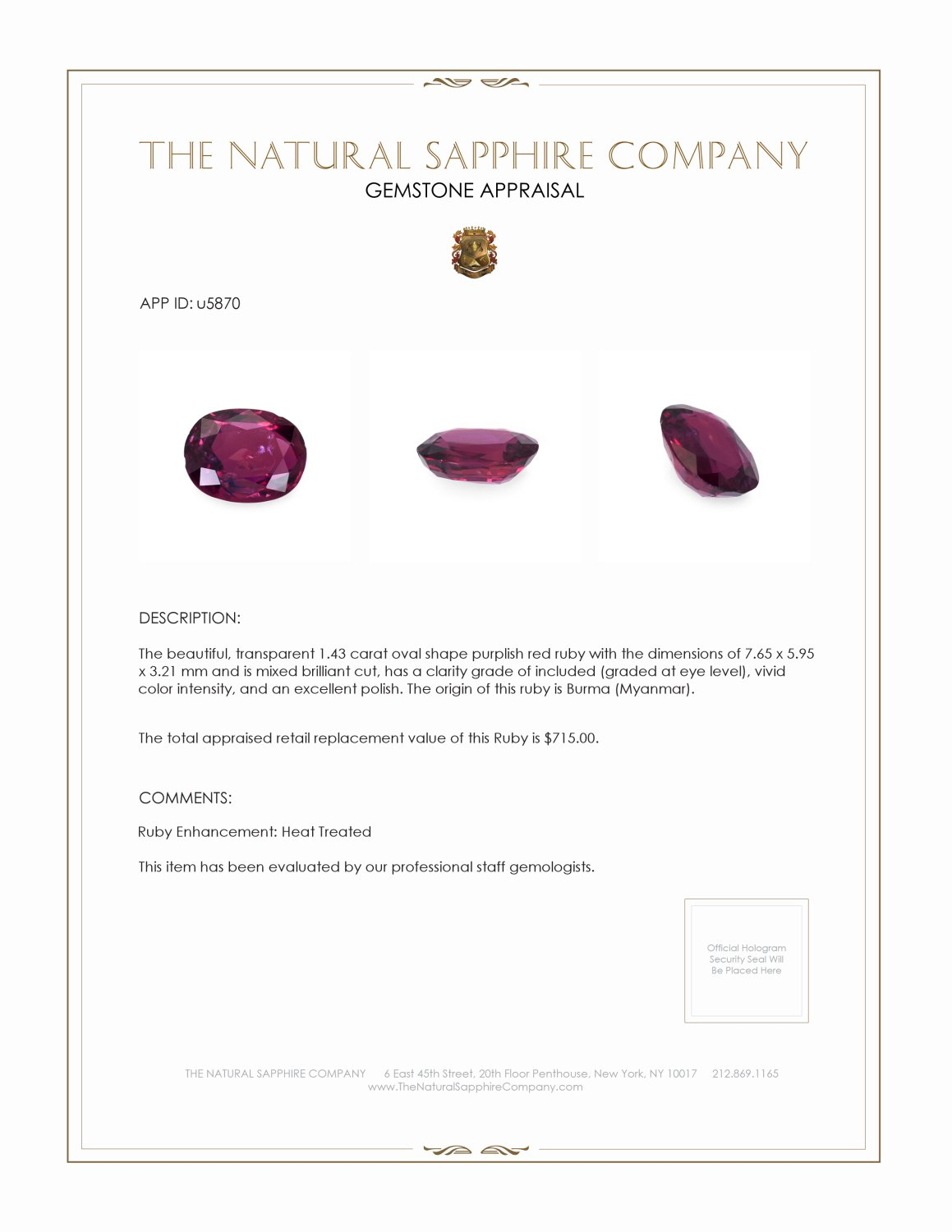 Natural Ruby U5870 Certification 3
