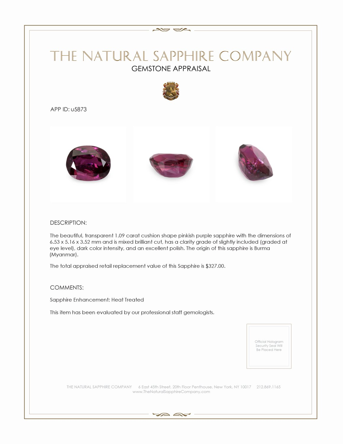 Natural Ruby U5873 Certification 3