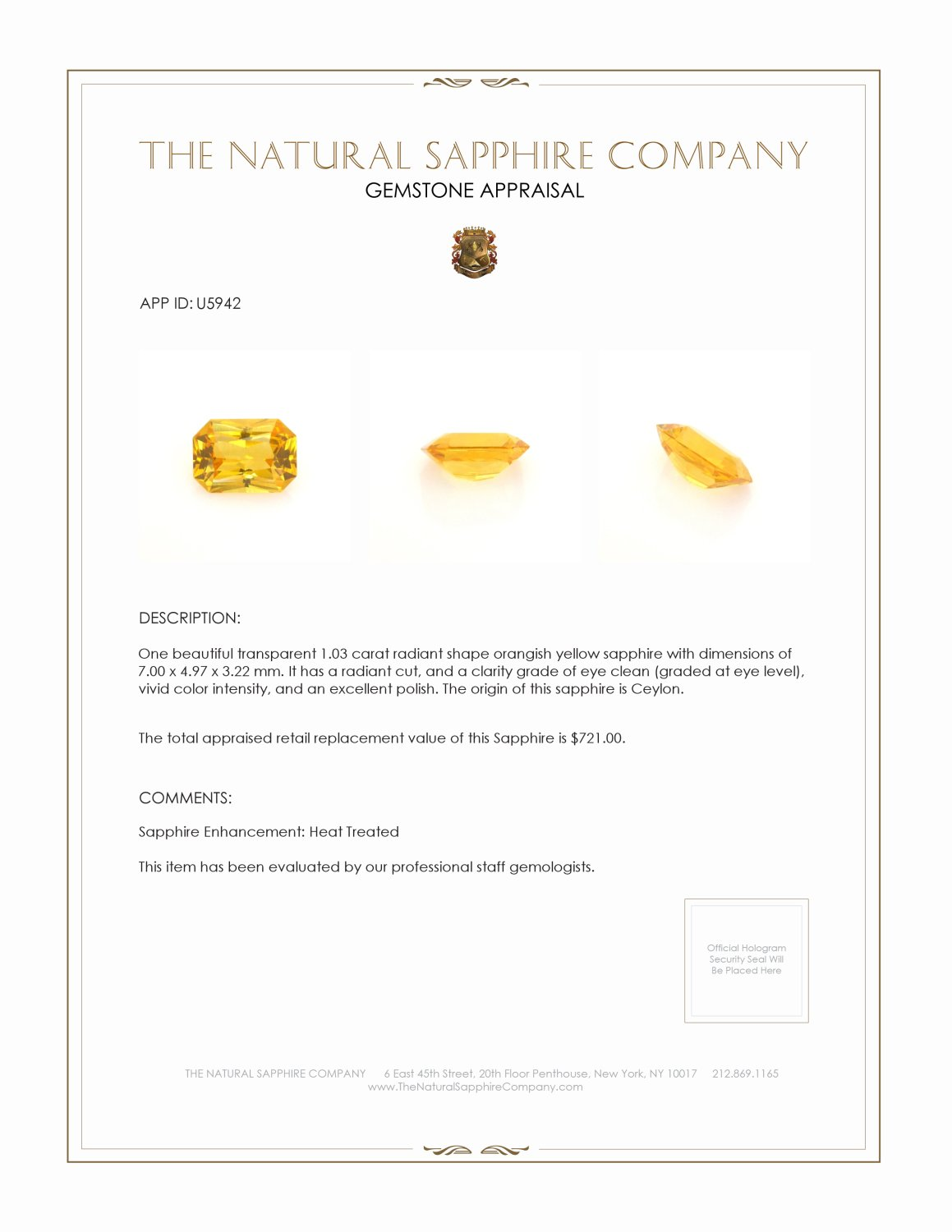 Natural Orangish Yellow Sapphire U5942 Certification 3