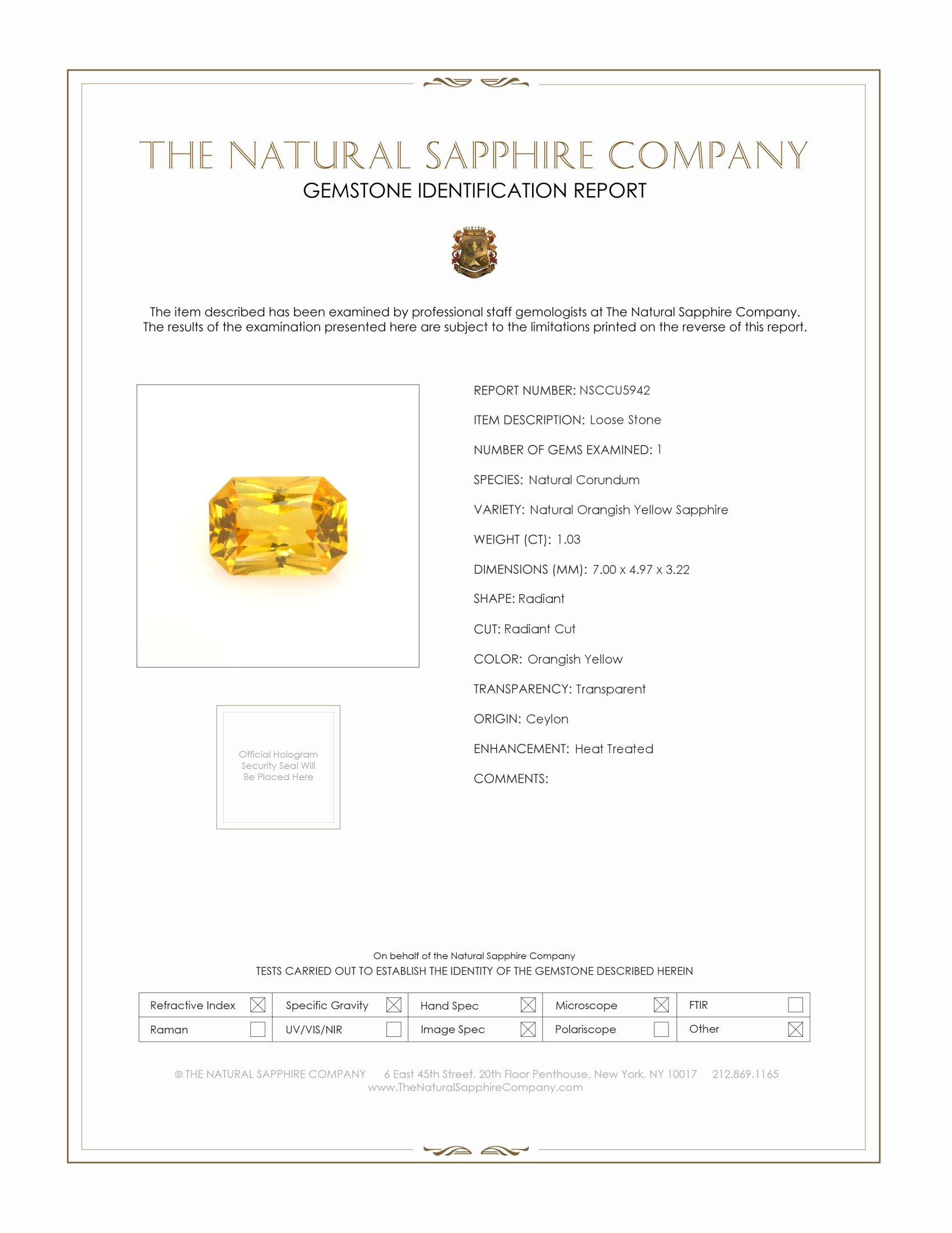 Natural Orangish Yellow Sapphire U5942 Certification