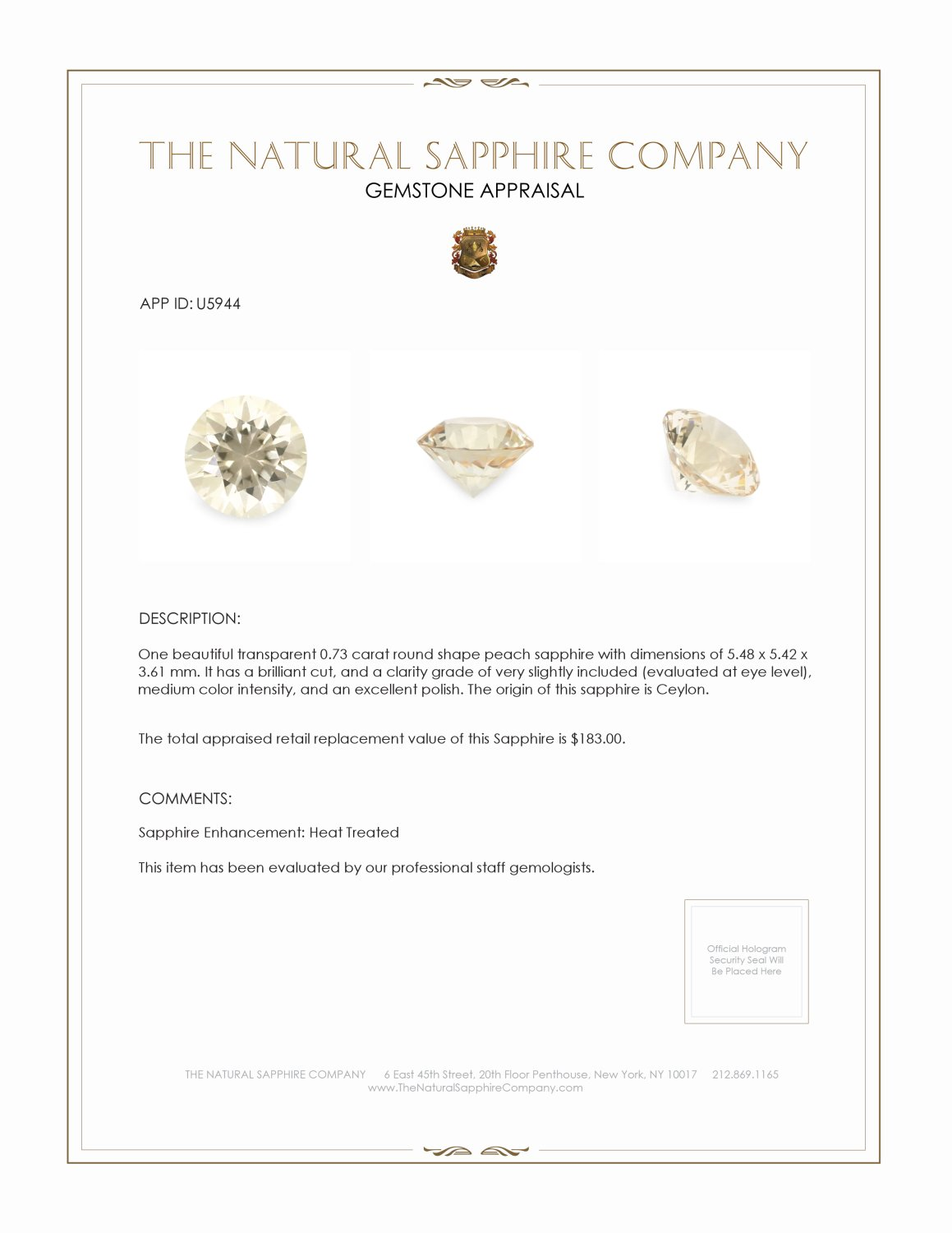 Natural Yellow Sapphire U5944 Certification 3