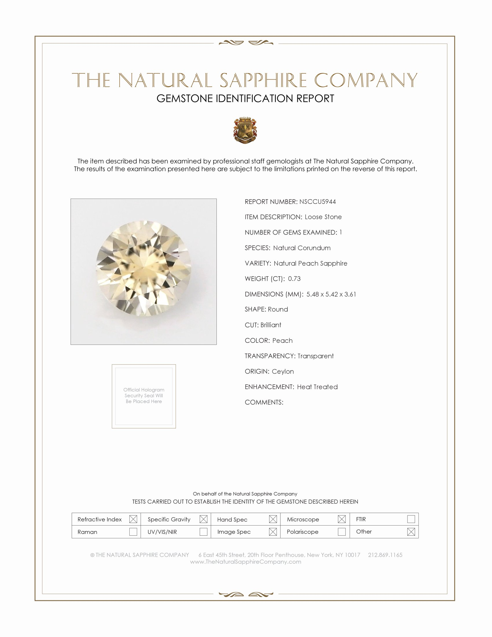 Natural Yellow Sapphire U5944 Certification