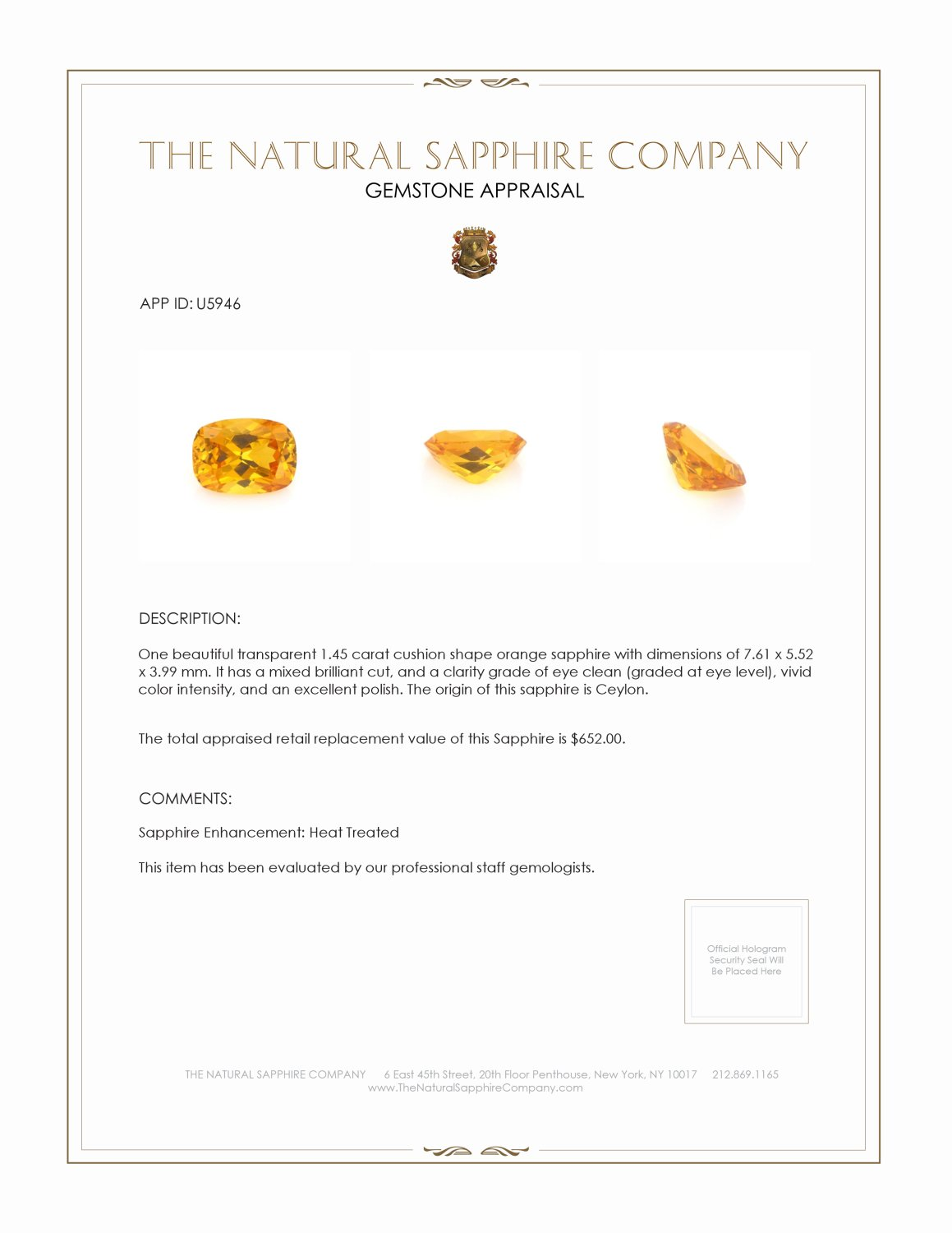 Natural Orange Sapphire U5946 Certification 3