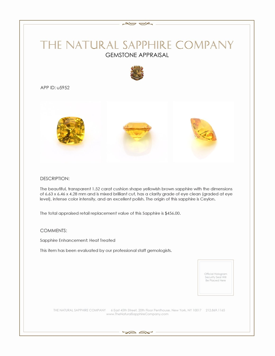 Natural Yellow Sapphire U5952 Certification 3