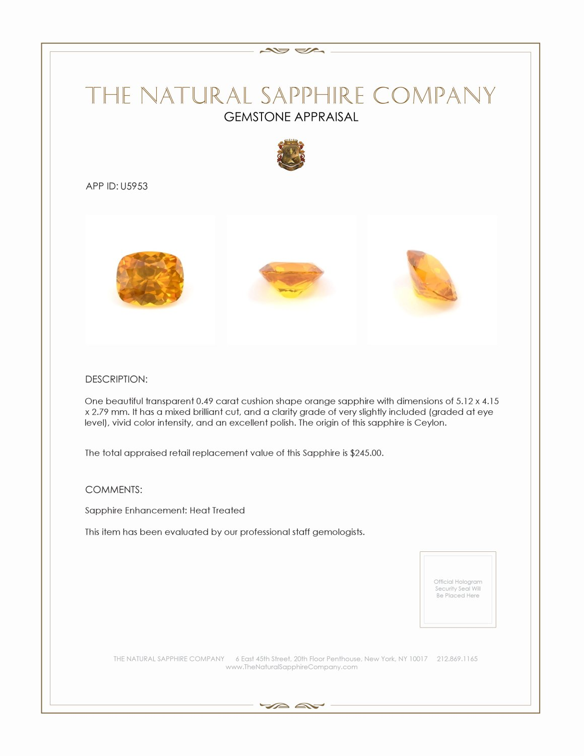 Natural Orange Sapphire U5953 Certification 3