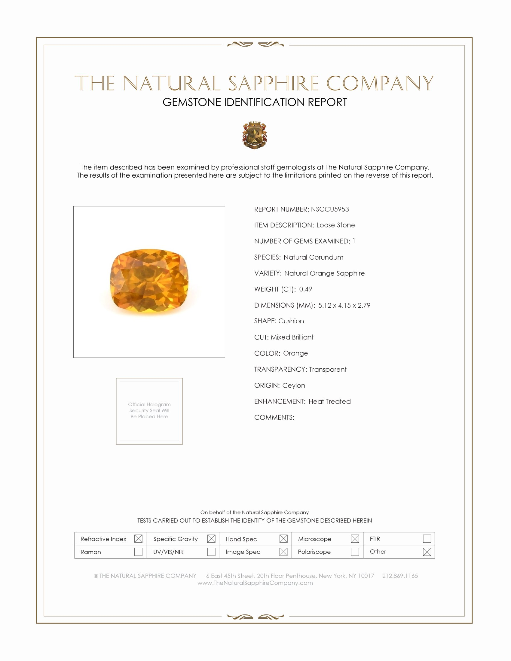 Natural Orange Sapphire U5953 Certification