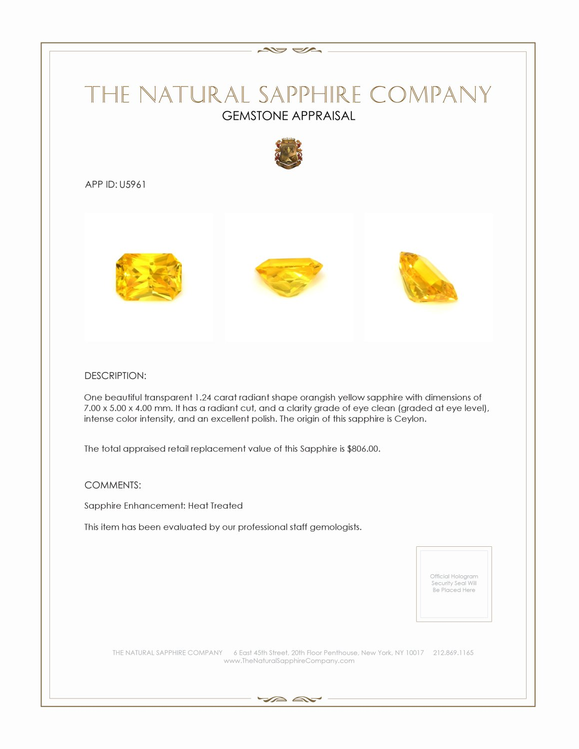 Natural Yellow Sapphire U5961 Certification 3