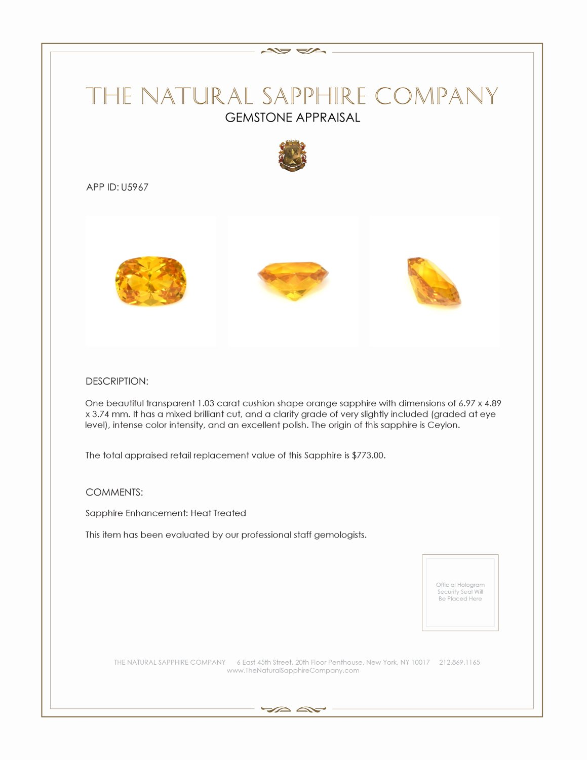 Natural Orange Sapphire U5967 Certification 3
