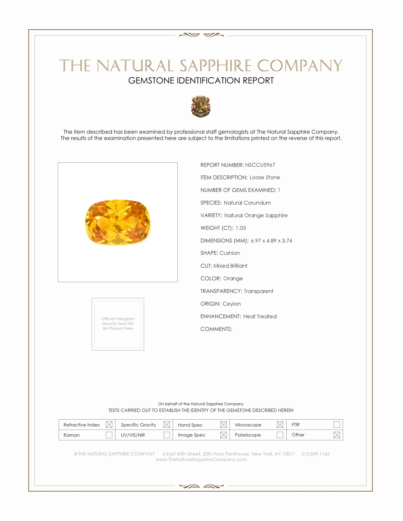 Natural Orange Sapphire U5967 Certification
