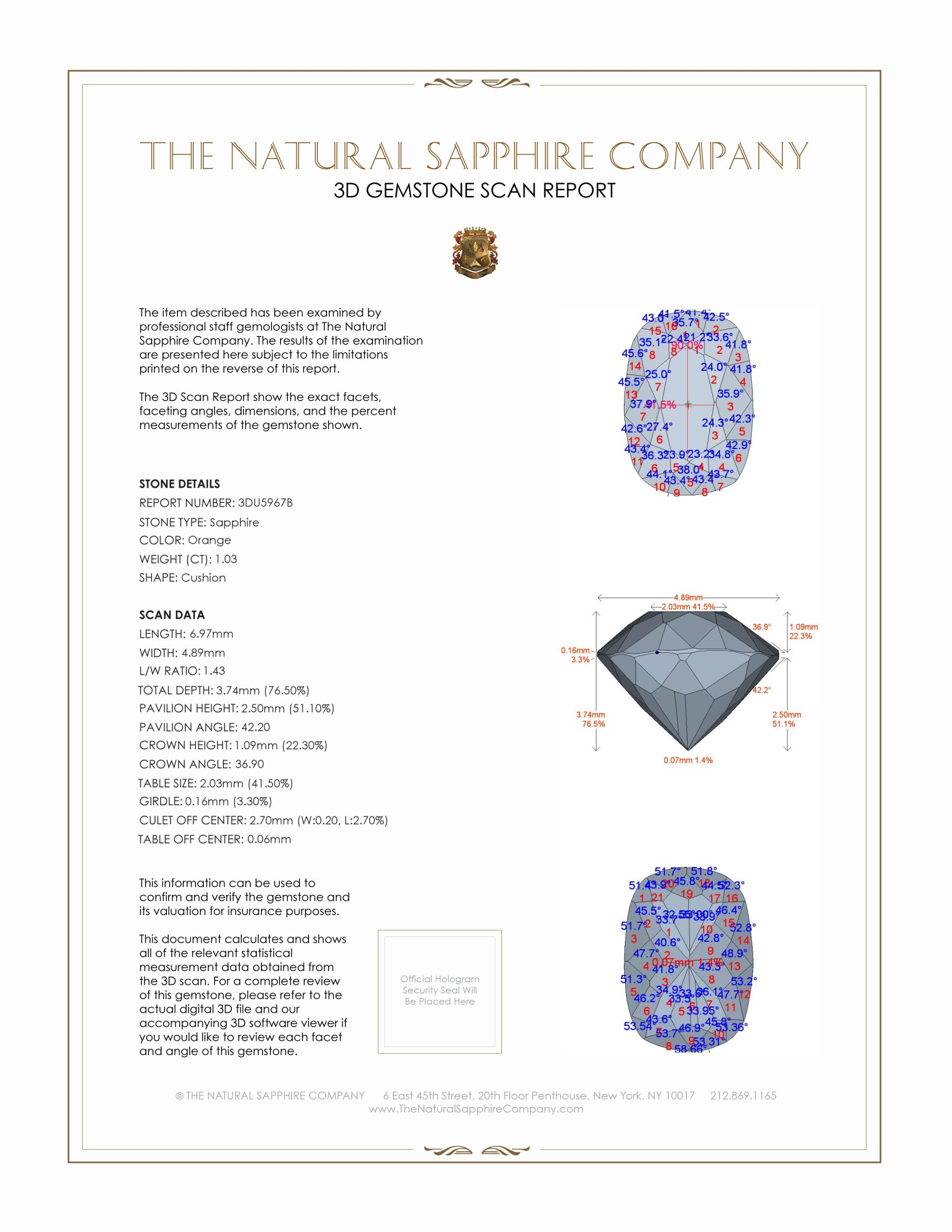 Natural Orange Sapphire U5967 Certification 2