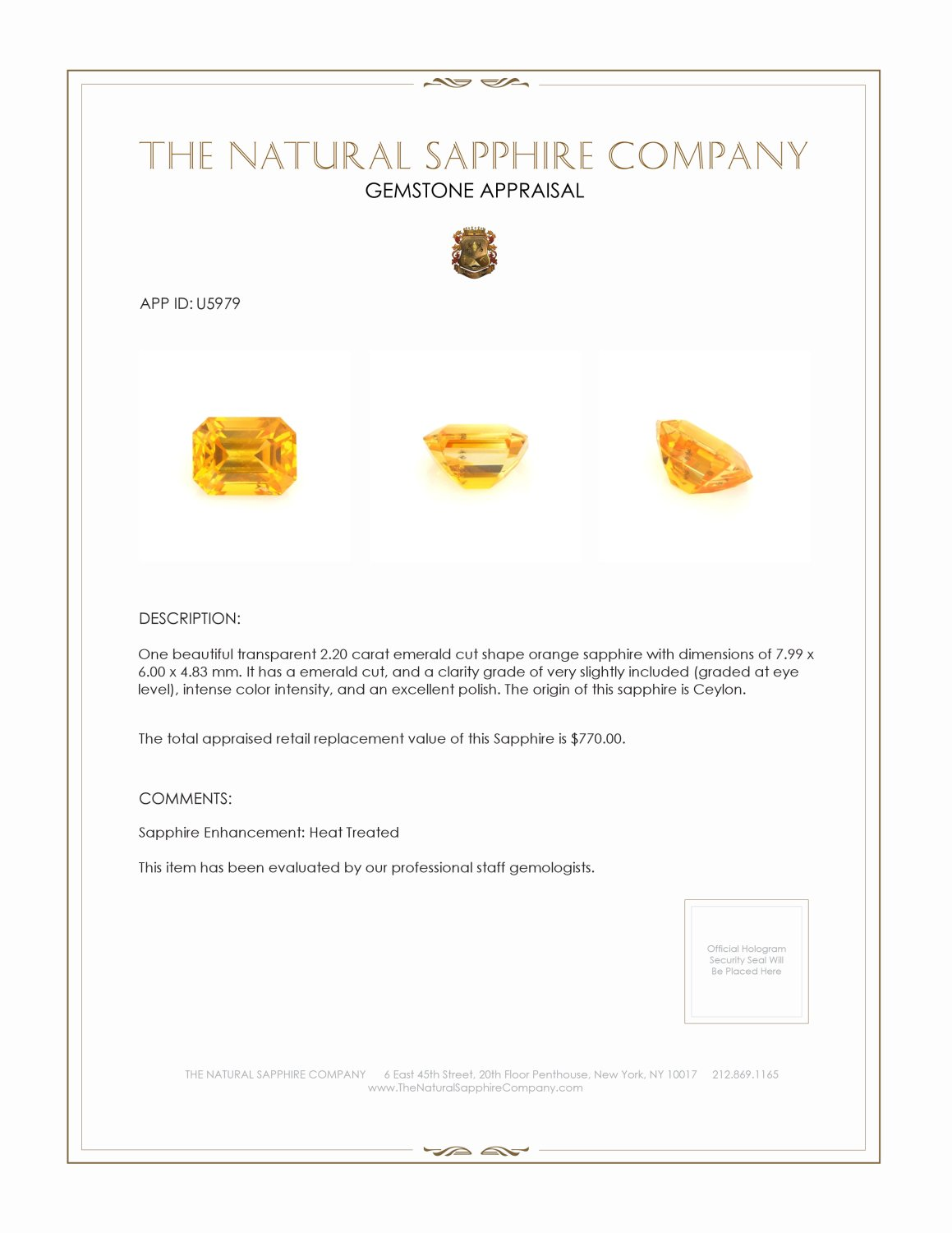 Natural Orange Sapphire U5979 Certification 3