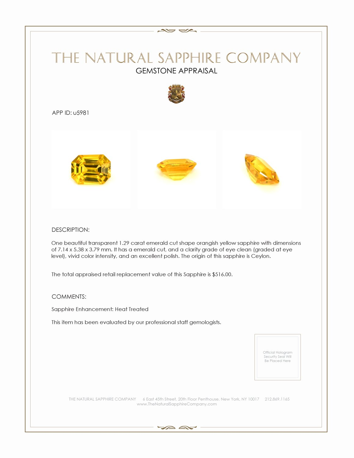 Natural Yellow Sapphire U5981 Certification