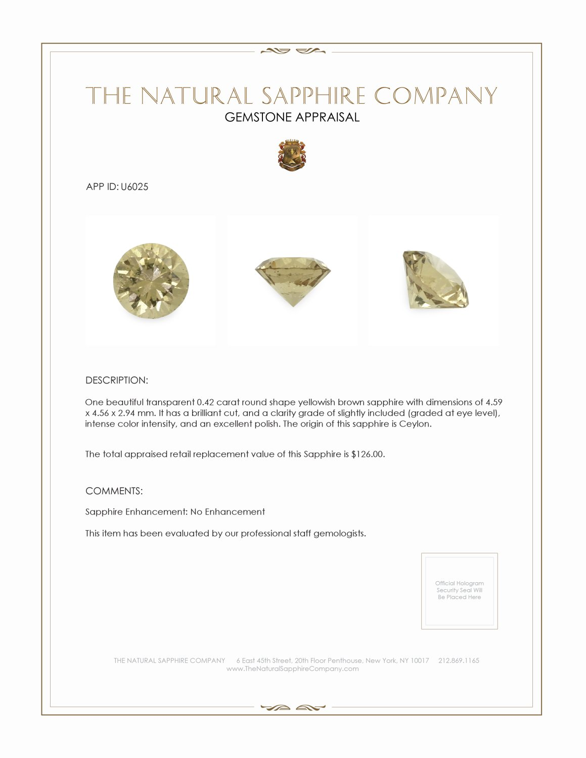 Natural Untreated Yellowish Green Sapphire U6025 Certification 3