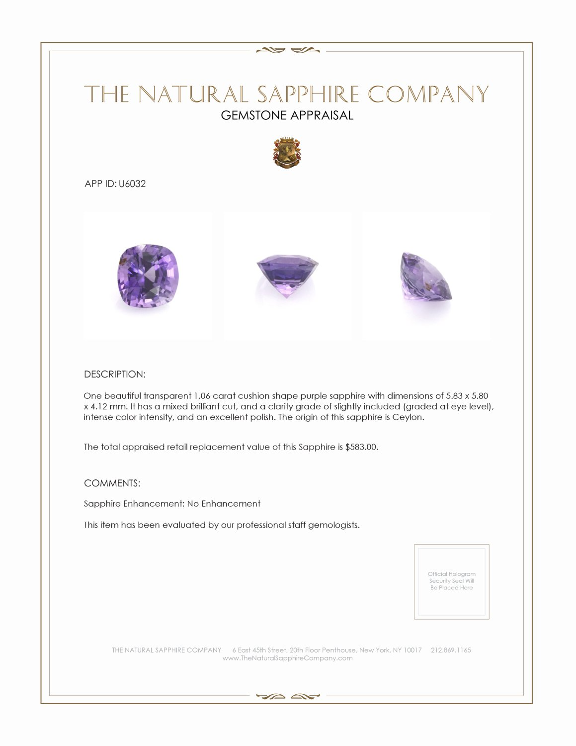 Natural Untreated Purple Sapphire U6032 Certification 3