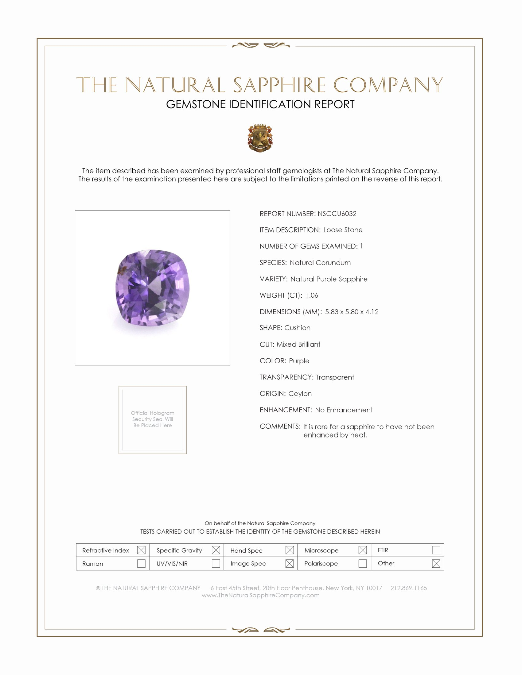 Natural Untreated Purple Sapphire U6032 Certification