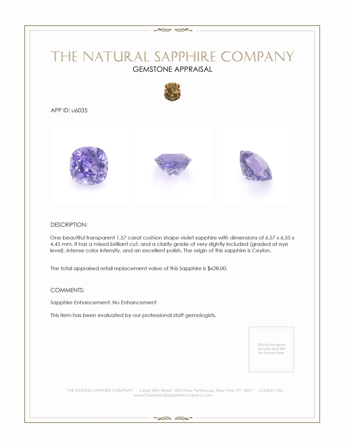 Natural Untreated Periwinkle Sapphire U6035 Certification