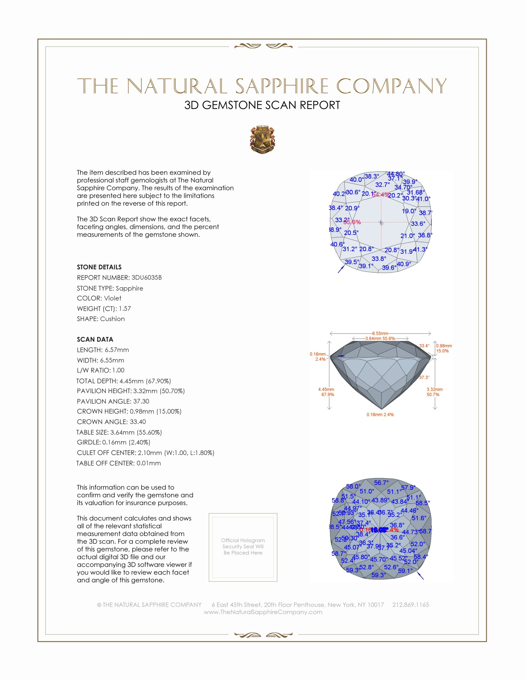 Natural Untreated Periwinkle Sapphire U6035 Certification 2