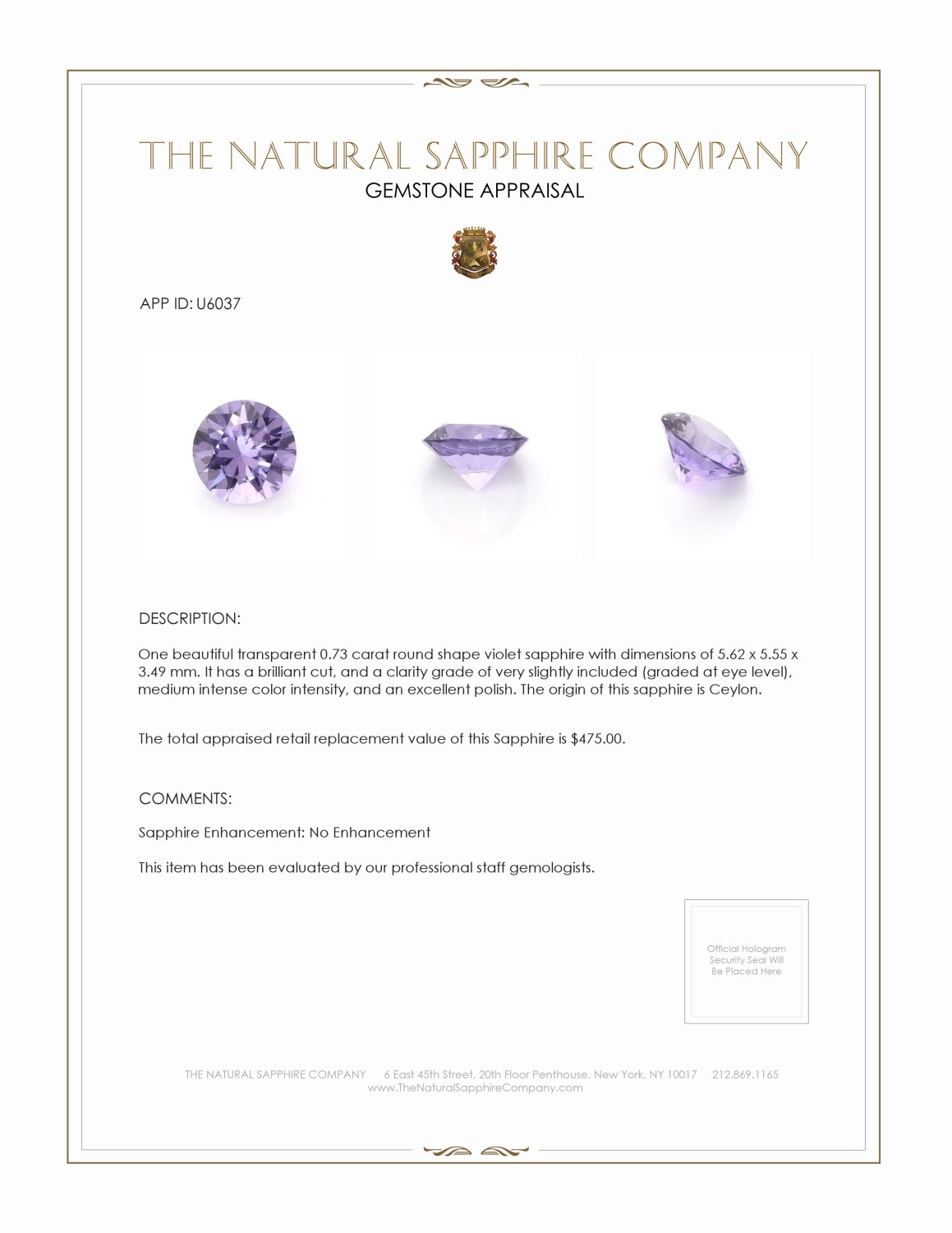 Natural Untreated Purple Sapphire U6037 Certification 3