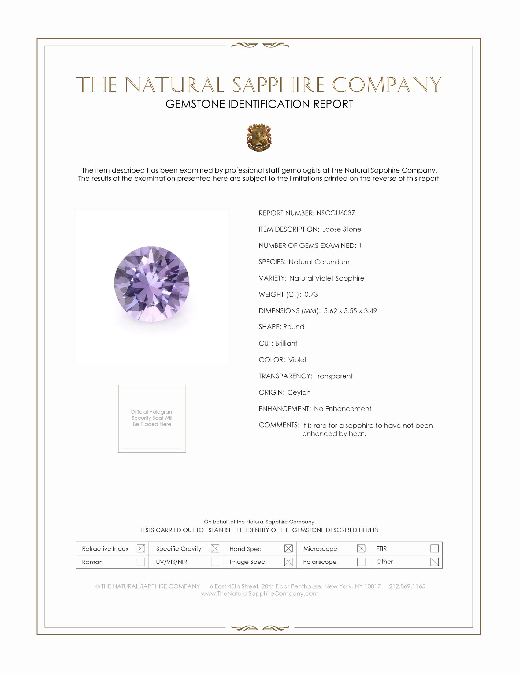 Natural Untreated Purple Sapphire U6037 Certification