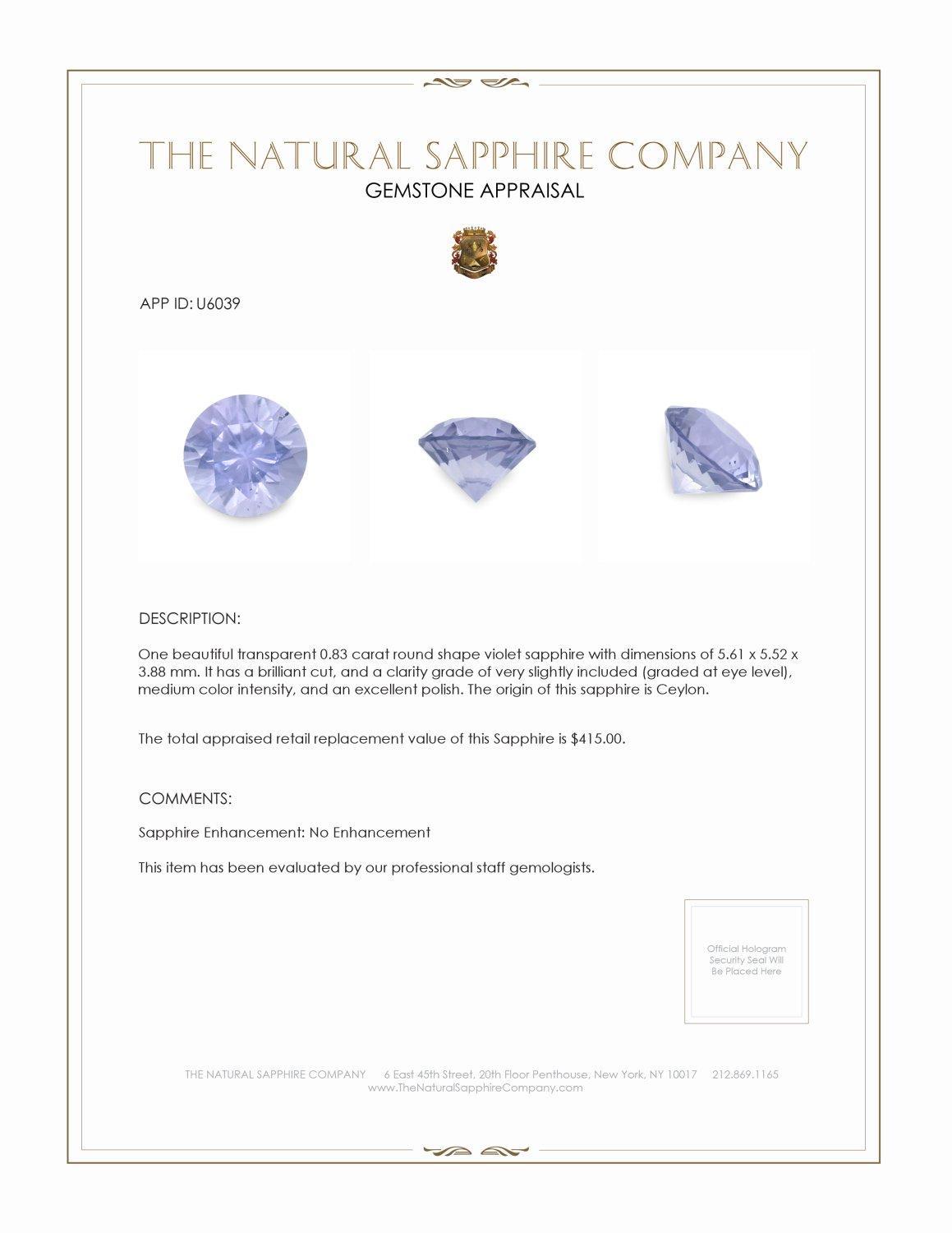 Natural Untreated Purple Sapphire U6039 Certification 3
