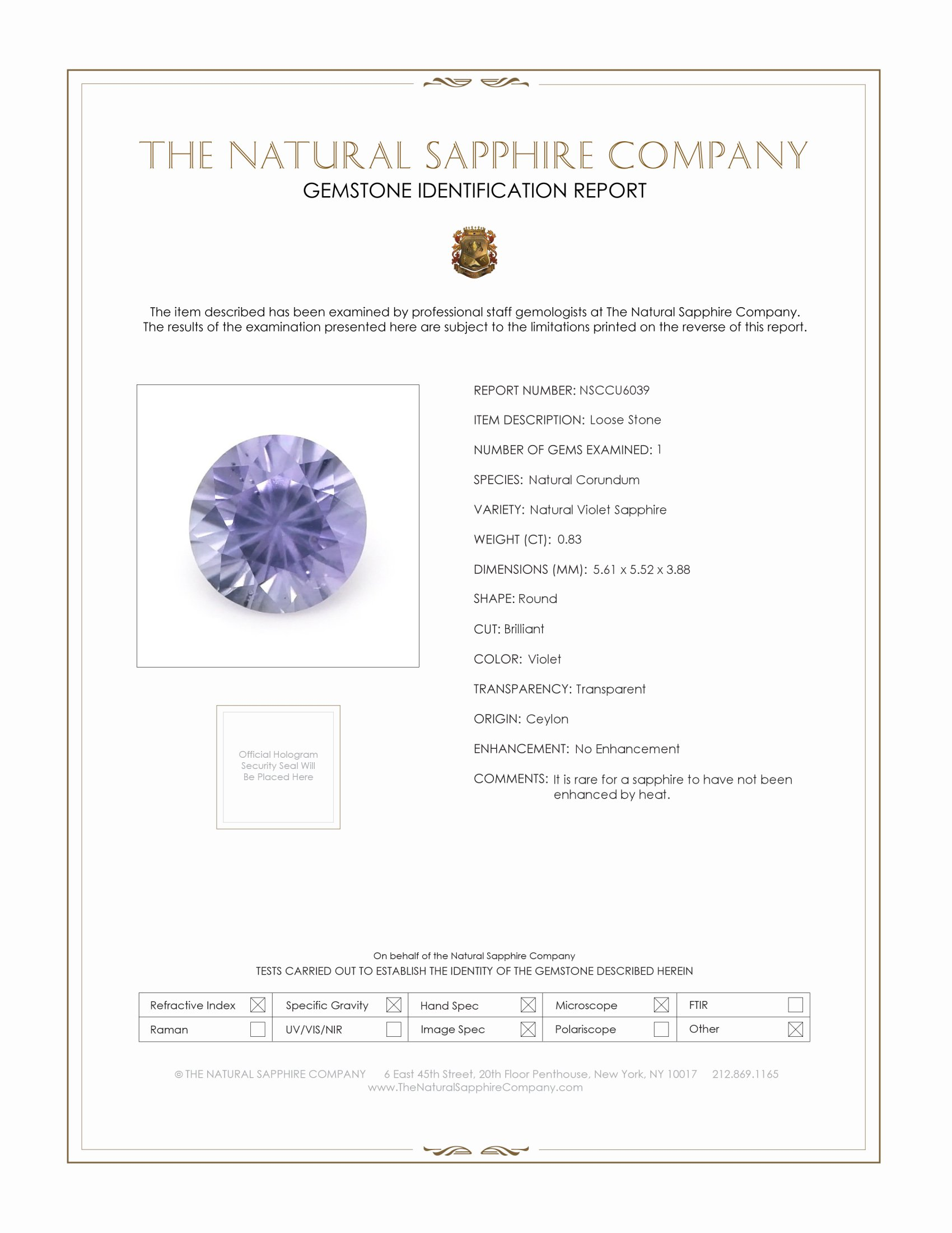 Natural Untreated Purple Sapphire U6039 Certification