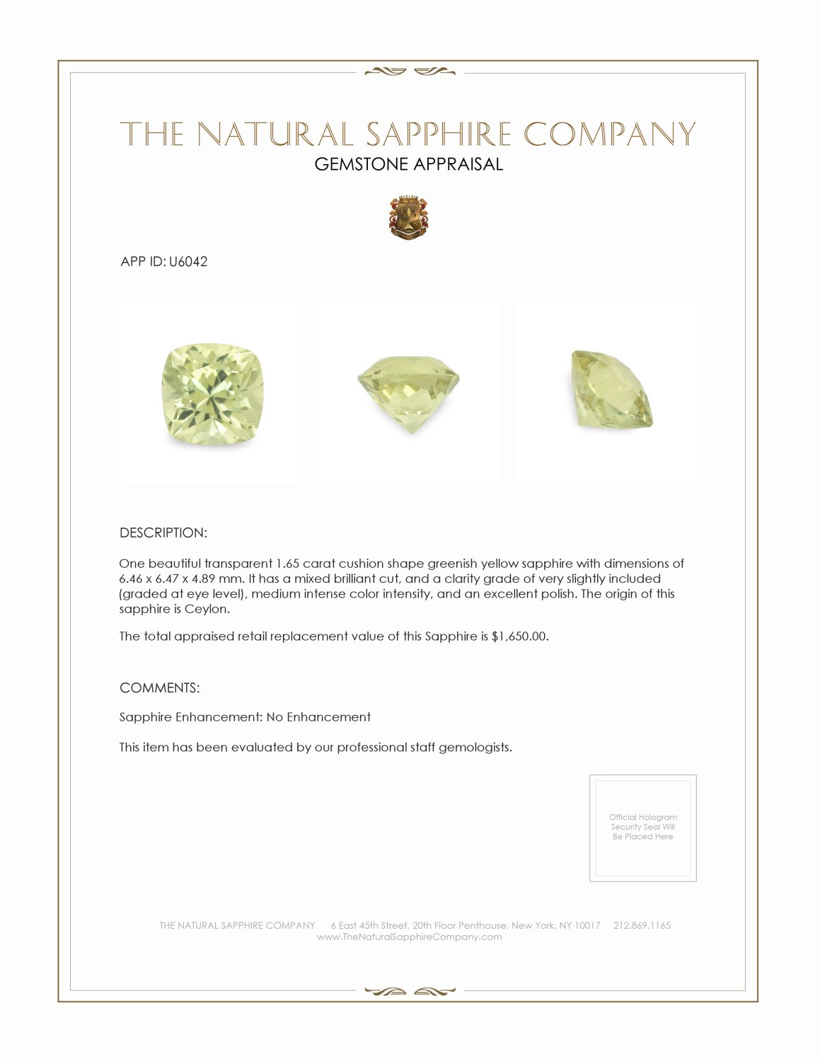 Natural Untreated Greenish Yellow Sapphire U6042 Certification 3