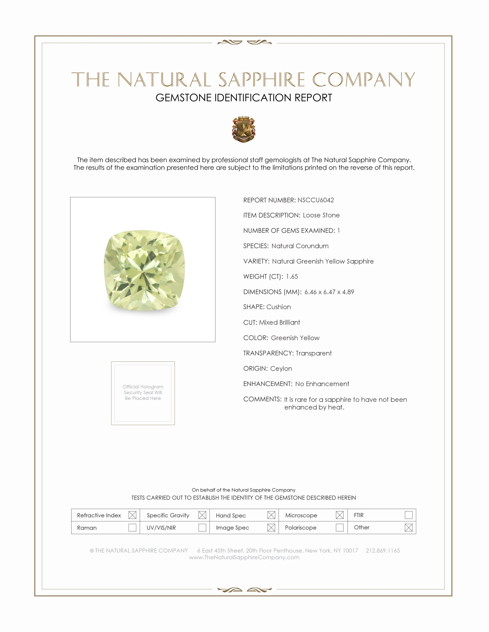 Natural Untreated Greenish Yellow Sapphire U6042 Certification