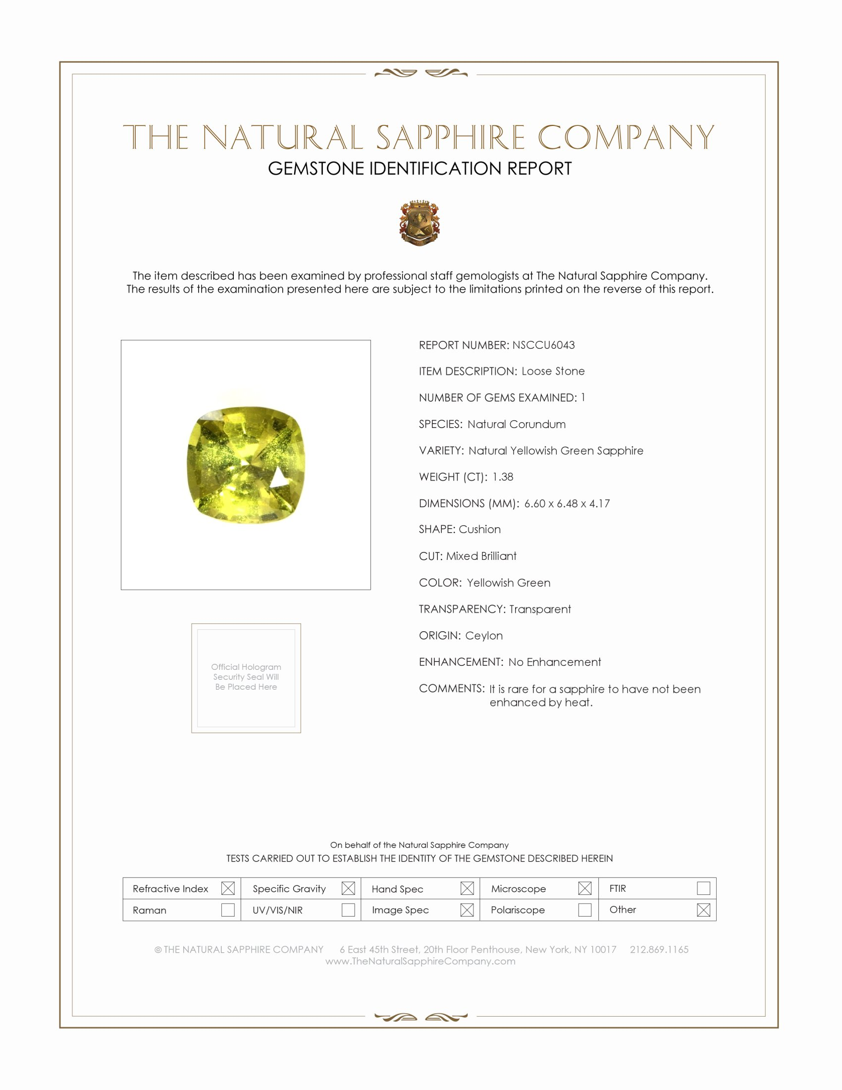 Natural Untreated Yellowish Green Sapphire U6043 Certification
