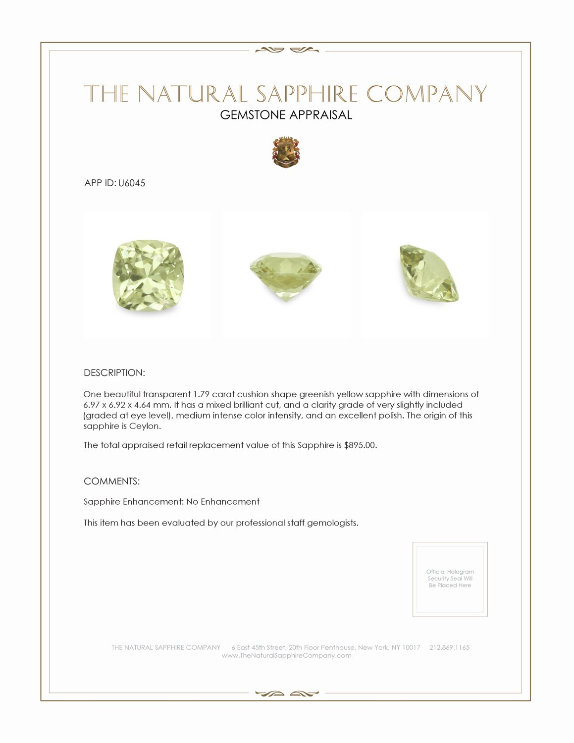 Natural Untreated Greenish Yellow Sapphire U6045 Certification 3