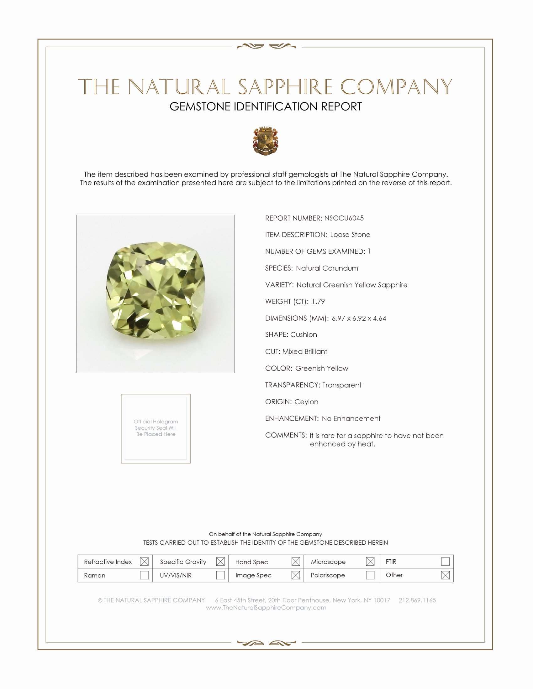 Natural Untreated Greenish Yellow Sapphire U6045 Certification