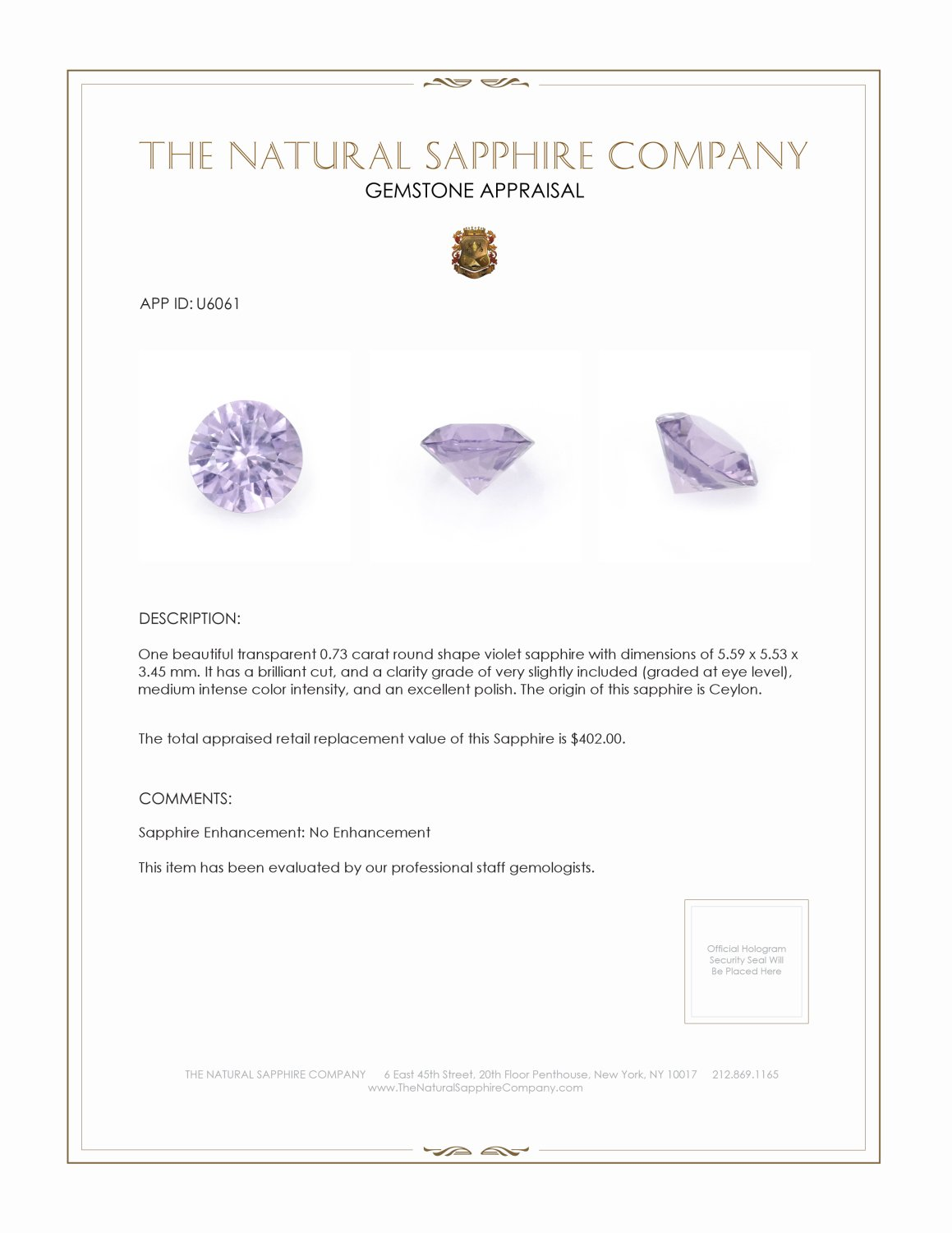 Natural Untreated Purple Sapphire U6061 Certification 3