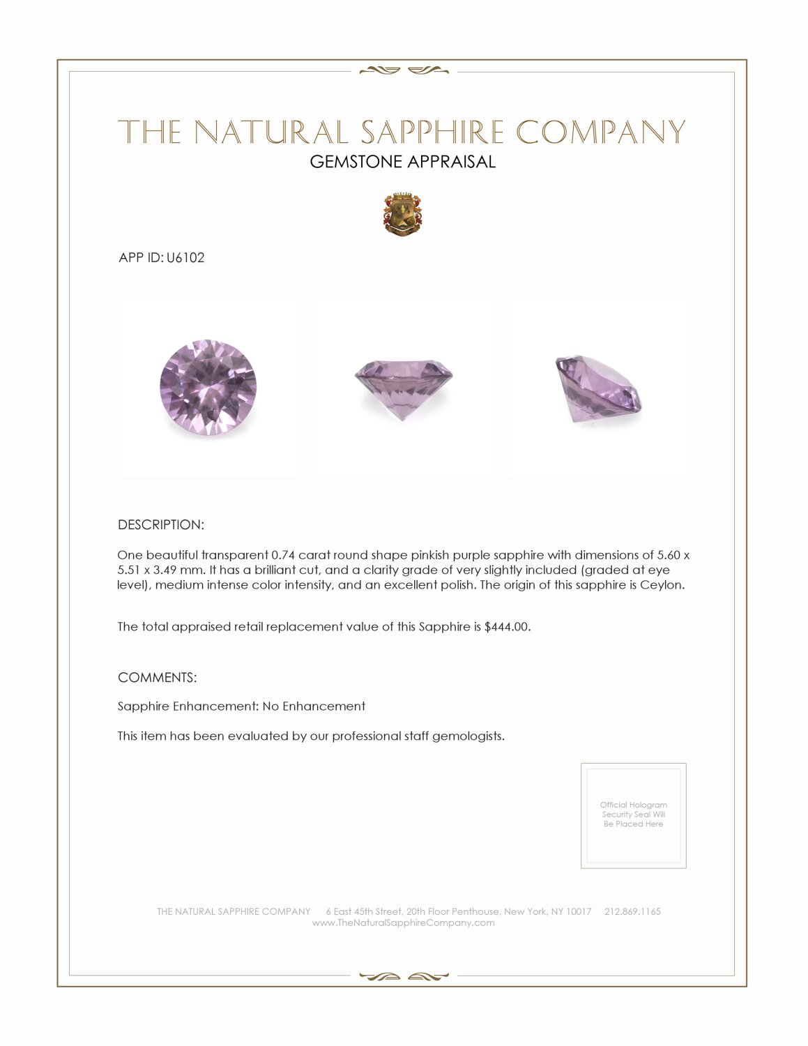 Natural Untreated Purple Sapphire U6102 Certification