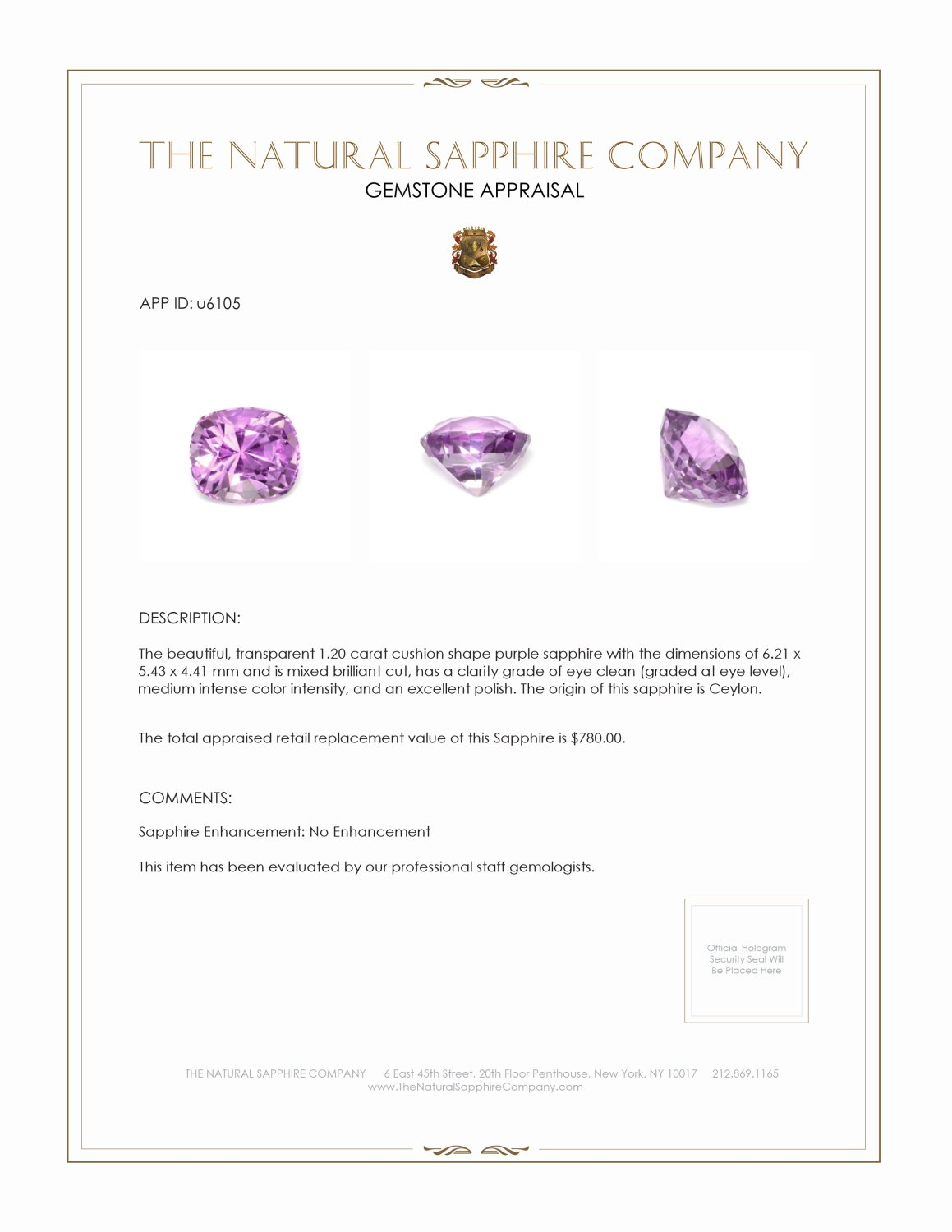Natural Untreated Purple Sapphire U6105 Certification 3