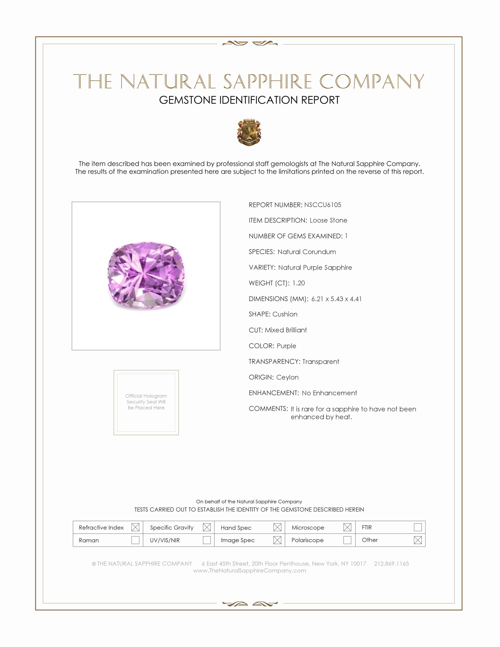 Natural Untreated Purple Sapphire U6105 Certification