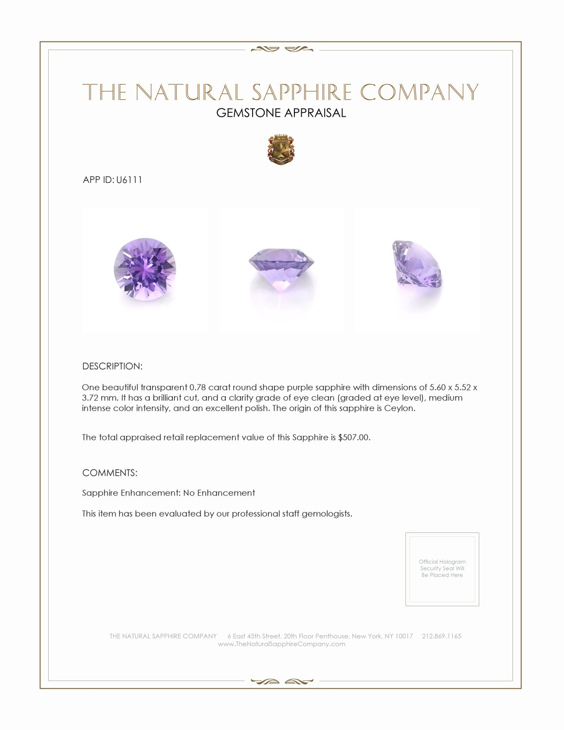 Natural Untreated Purple Sapphire U6111 Certification 3