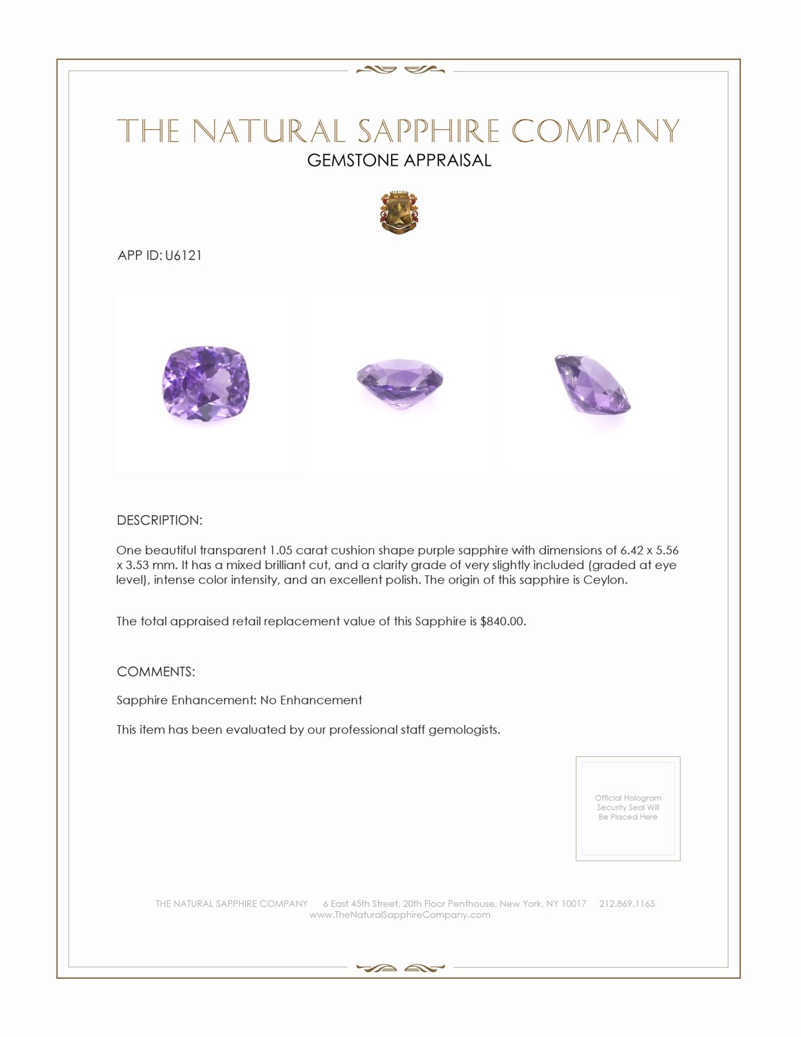 Natural Untreated Purple Sapphire U6121 Certification