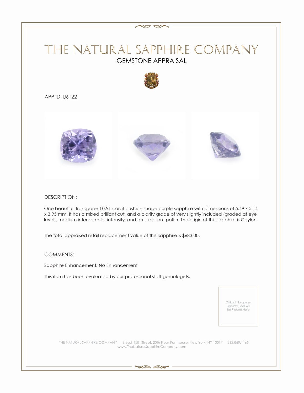 Natural Untreated Purple Sapphire U6122 Certification 3