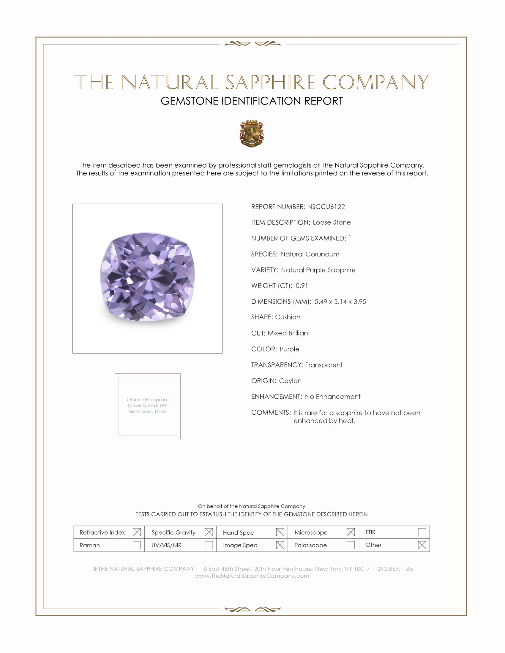 Natural Untreated Purple Sapphire U6122 Certification