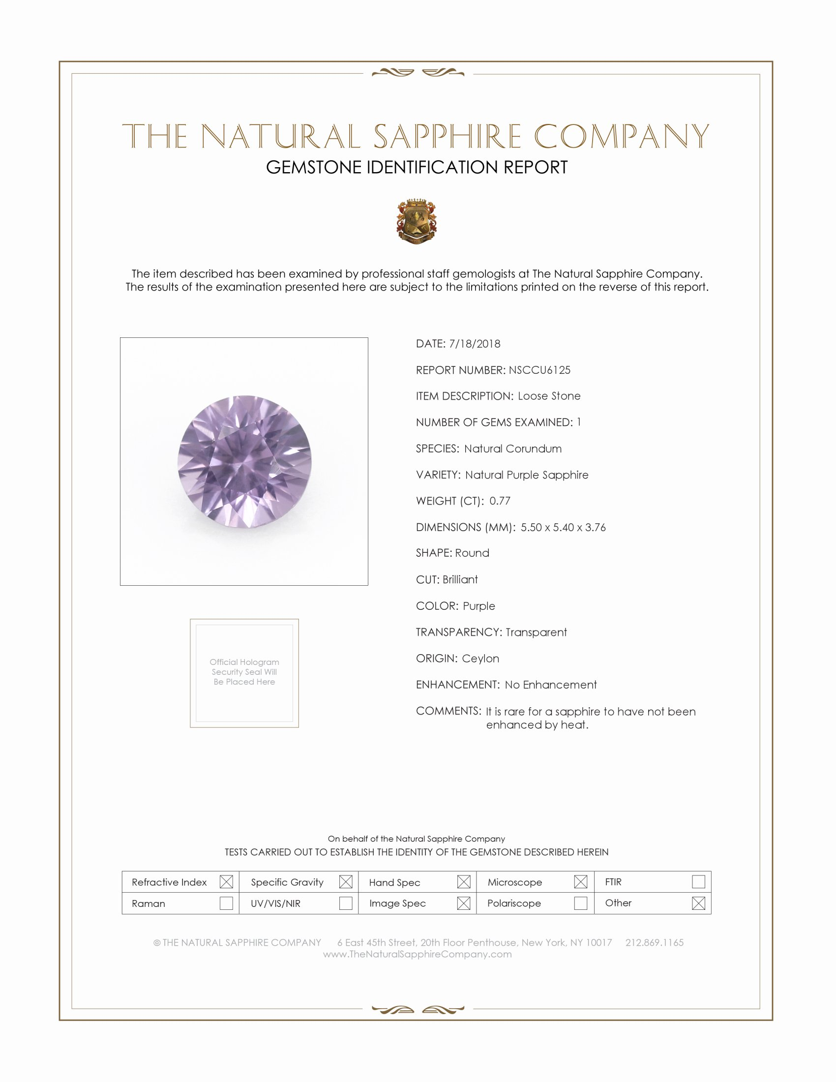 Natural Untreated Purple Sapphire U6125 Certification