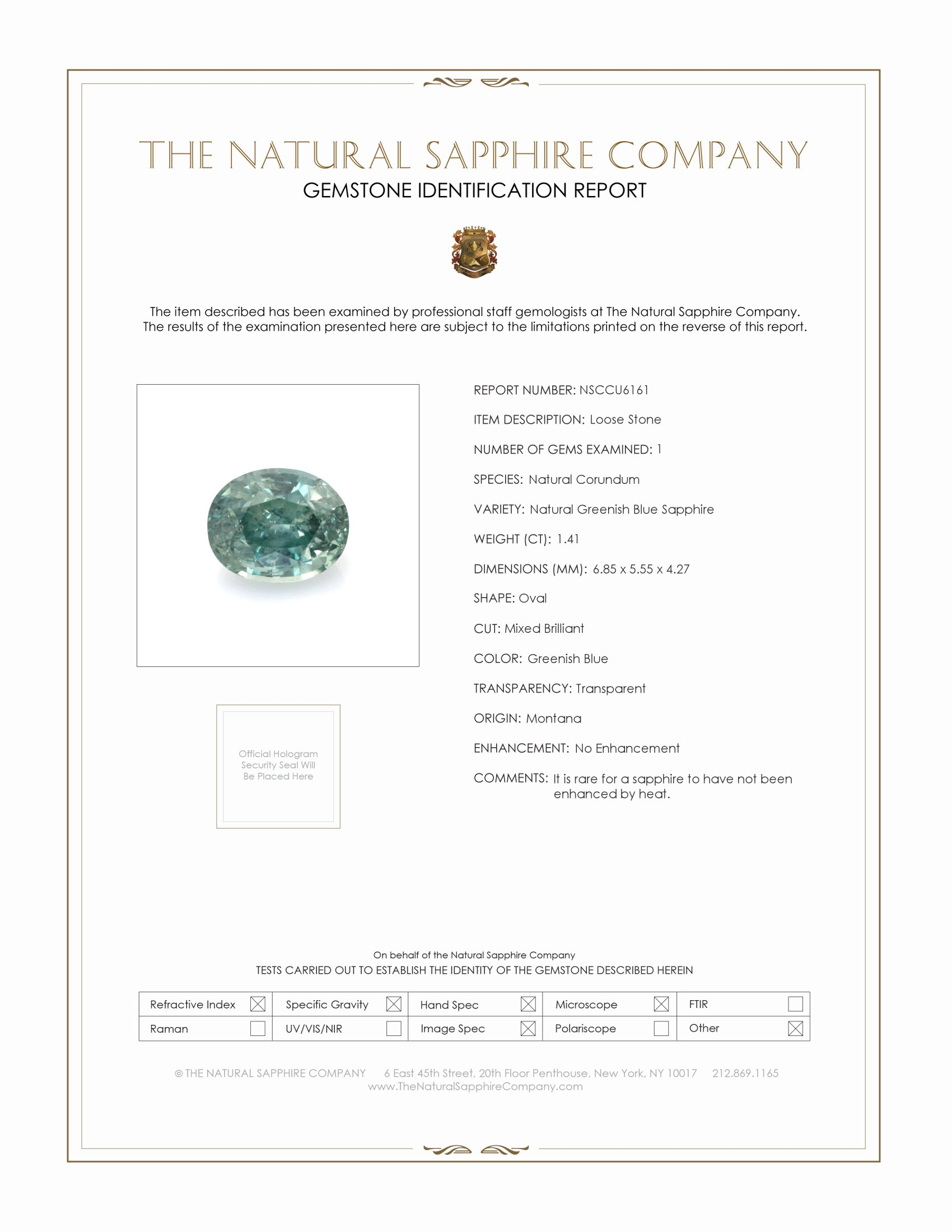 Natural Untreated Greenish Blue Sapphire U6161 Certification