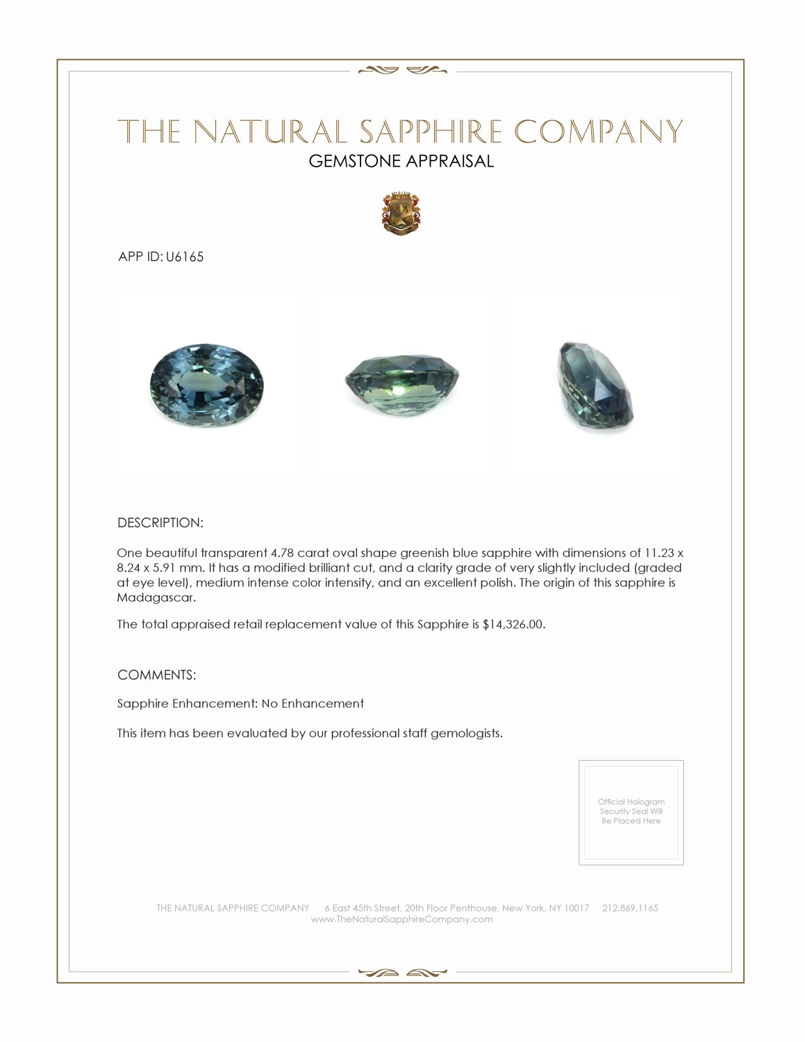 Natural Untreated Greenish Blue Sapphire U6165 Certification 4