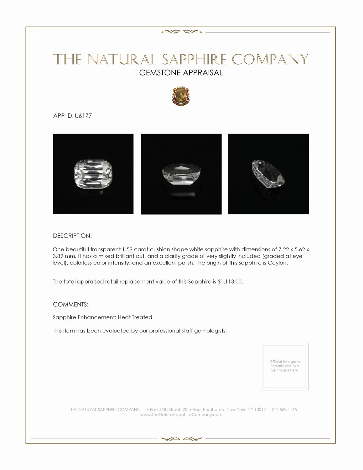Natural White Sapphire U6177 Certification 3