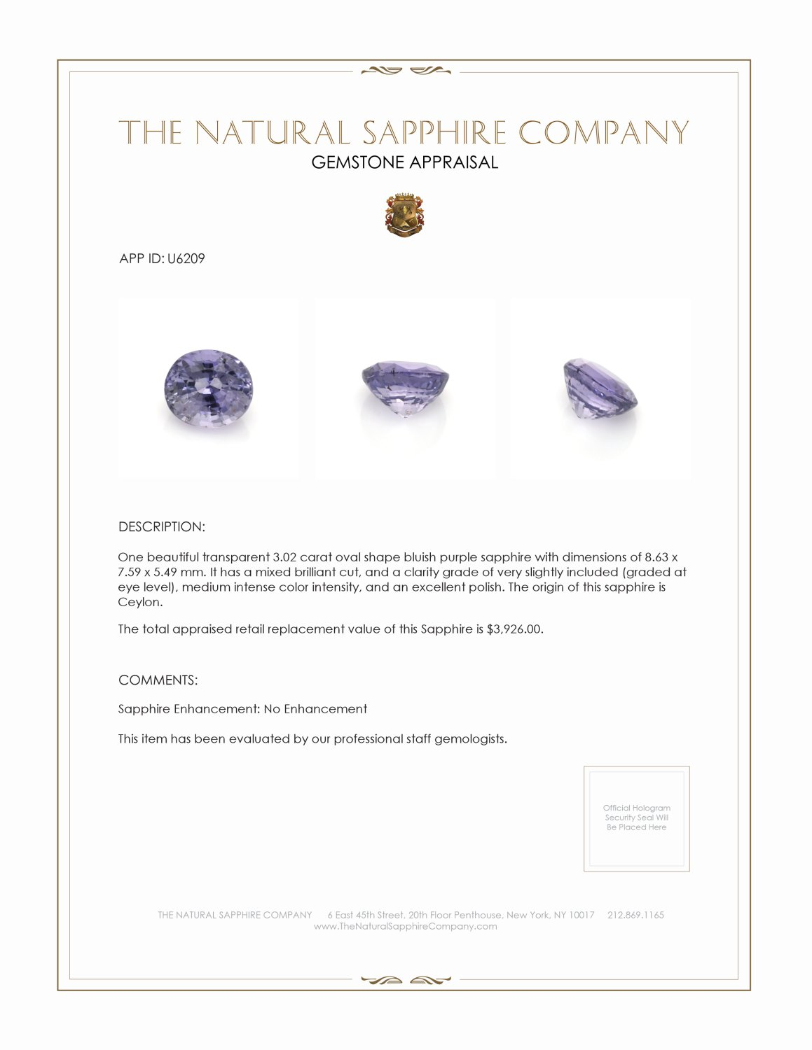 Natural Untreated Bluish Purple Sapphire U6209 Certification 4
