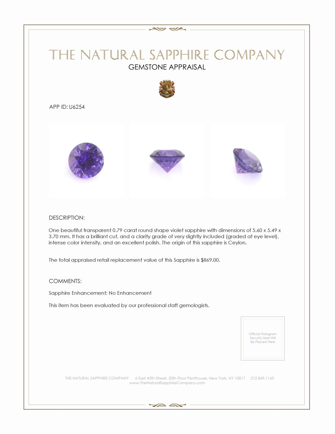 Natural Untreated Purple Sapphire U6254 Certification 3